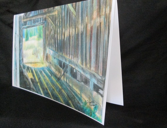 shadows and light inside old barn/ colored pencil card print