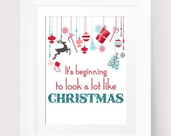 Christmas Printable Wall Art Faux Glitter It's Beginning to Look A lot Like Christmas song Carol INSTANT DOWNLOAD  Christmas decoration