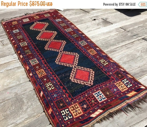 Antique Persian Gabbeh Rug Luri Tribal Art 4x8 By Antieksman