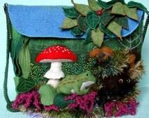 Unique Felted handbag forest nature mushroom frog. Felt Design Handbag. Artiste Nature Green Design. Valentine's Birthday gift for her. KE
