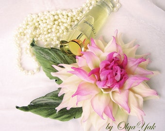 Silk Flowers Dahlia Corsage, romantic  silk flower brooch, hat accessories, white pink Valentine's Birthday gift. Handmade silk flowers. OY