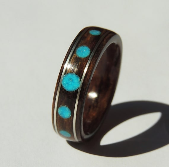 Bentwood Ring Bocote With Turquoise Dots And Silver Non