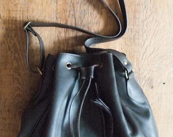 Chocolate Brown Leather Drawstring Handbag
