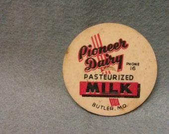 Pioneer Dairy Pasteurized Milk Bottle Cap Butler Mo.
