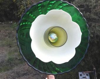 Glass Flower Yard Art/Plate Flower Garden Art: Emerald Peonie