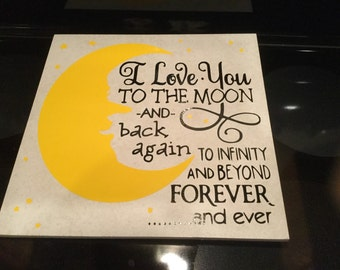 I love you to the moon and back 12x12 tile