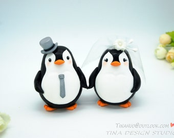 Custom Love Bird Penguin Wedding Cake Toppers-Bride And Groom Penguin Cake Topper