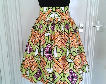 Samantha Orange and Green Geometric African Wax High Waist Dirndl Skirt - Made to Order