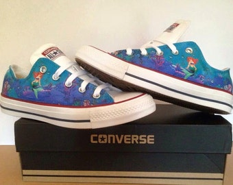 hans christian Andersen little mermaid illustrated converse low top shoes