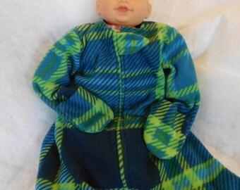 BABY SLEEP SACK ---  Plaid soft Fleece -- Large only