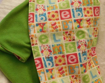 ABC BABY BLANKET -- Flannel and Fleece -- baby soft