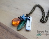 Boho Feather Arrow Necklace / Follow your Dreams into the Sunset Necklace / Feather Arrow Necklace / Free Spirit