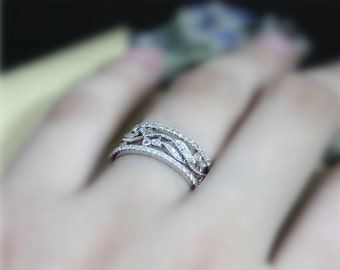 Full Eternity, Diamonds Ring SET! 3 Rings Diamond Wedding Ring , Set Solid 14K , White Gold Ring Set ,Engagement Ring Set, Matching Band Set