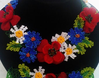 Ukrainian jewelry. Beaded necklace.   Summer fantasy - fmazing necklace with the braslate and belt. Multicolor necklace
