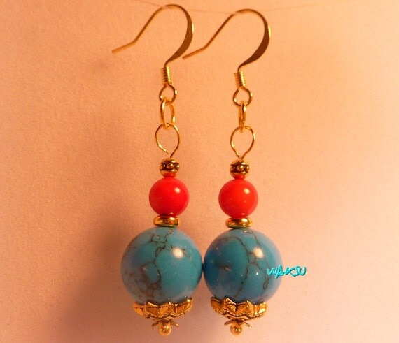 earrings with turquoise coral and gold by waksubijoux on etsy