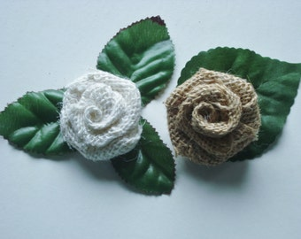 10 Burlap Roses with Leaves