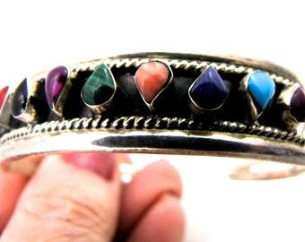 Vintage Sterling Multi Gem Cuff Bracelet Bezel Set Teardrop Stones-Mexico 10 teardrop shaped stones-Free Shipping