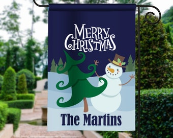 Merry Christmas Winter Snoman Scene Personalized Holiday Garden Flag Yard Sign Banner Decor Decoration Personalize with your Family Name