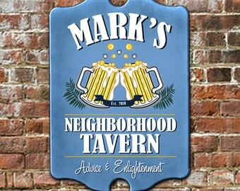 """Custom PERSONALIZED Neighborhood Tavern Pub Sign - Traditional Antique Look for Game Room, Man Cave Wall Decor 11 x 16"""" GREAT Gift!"""