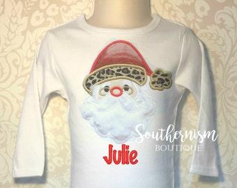 Christmas Shirt, Girls Christmas Shirt, personalized Christmas Shirt, Santa Shirt, Holiday Shirt! Leopard Christmas Shirt, sequin