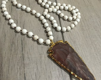 Long howlite beaded necklace with jasper arrowhead under 50 free shipping