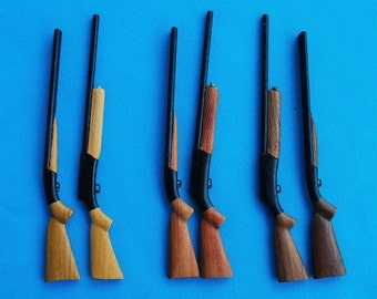 Miniature Wooden Browning A-5 and Double Barrel Beretta Shotguns Pair from Cypress, Cherry, or Black Walnut wood