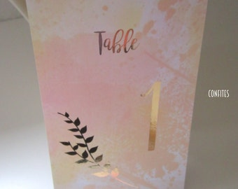 Wedding Table Number Cards - Yellow/Orange Watercolour and Rose Gold print