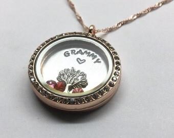 GRAMMY's Family Tree - Floating Charm Locket -  Memory Locket - Custom Hand Stamped Gift for Mom