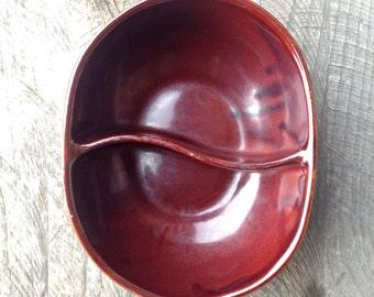 Vintage Marcrest Stoneware Split Compartment Bowl