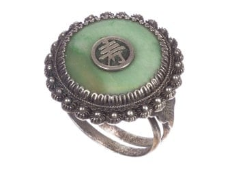 Art Deco Chinese Jade Filigree Ring