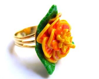 Marigold Ring, Summer Outdoors, Polymer Clay Ring, Flower of the Dead Ring, Day of the Dead Ring, Dia de los Muertos Ring, Flower Ring
