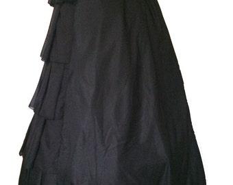 Black Victorian Gothic Medieval Vampire Civil War Full Layer Pilgrim Skirt