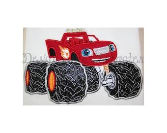 "Monster truck applique machine embroidery design- 3 sizes 4x4"", 5x7"", 6x10"""