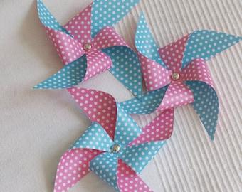 3 Polka Dots Pinwheels (decor) Hot Pink & Blue