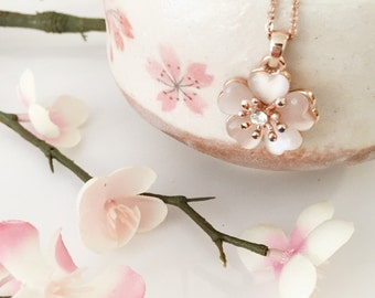 Cherry Blossom Necklace, Sakura Necklace, Cherry Blossom Wedding, Bridal Jewelry, Bridesmaid Jewelry, Pink Cats Eye