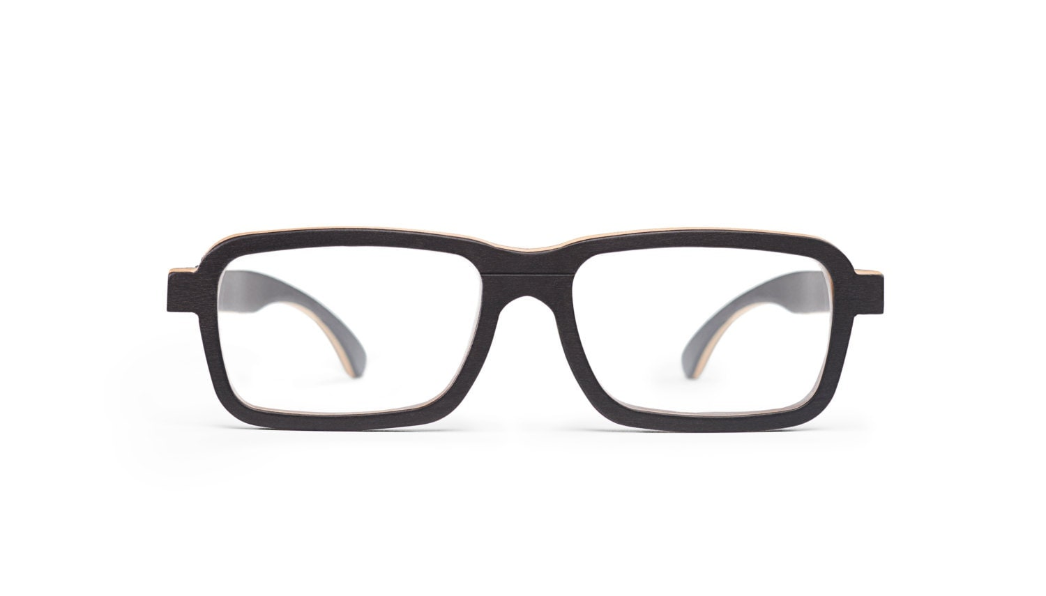 black wooden prescription glasses thin wood frame and