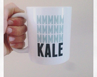 White Ceramic Mug, kale, avocado