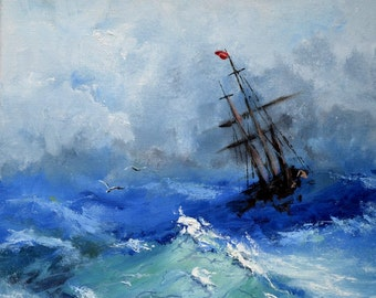 Original oil painting  Ship in a storm
