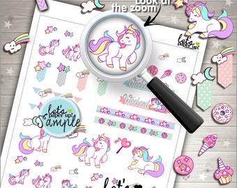60%OFF - Unicorn Stickers, Printable Planner Stickers, Pastel Stickers, Kawaii Stickers, Fairy Tale Stickers, Planner Accessories, Rainbow