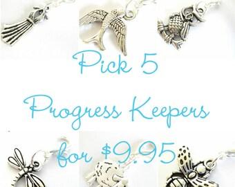 Knitting Progress Keeper - Pick 5 | Knitting Project Bag Zipper Pull | Crochet Stitch Marker | Knitting Gift | Removable Stitchmarker