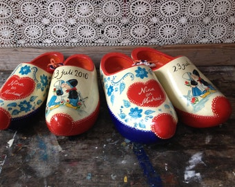 Personal, hand-painted, Dutch wooden clogs with name and image with farmer peasant girl for wedding and jubilee, all anniversary