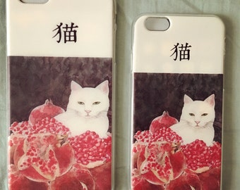 Japanese silicone case, silicone iphone 6s case, silicone iphone 6 plus case - Yes, pomegranate and cat