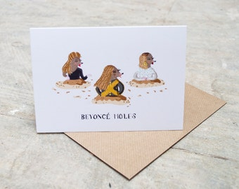Beyonce Moles - Greeting card - Birthday card - Puns - Humour - Thank you card - Beyonce - Queen Bee - Mole - animals