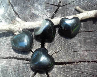 Black Obsidian Hearts From Mexico, 4 beads in a set