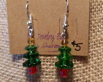 Christmas Tree Holiday Earrings made with Green, Yellow, and Red Crystals