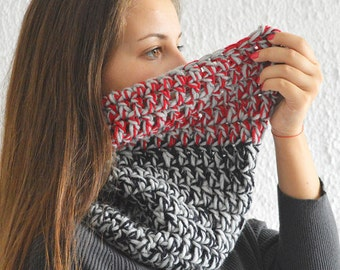 Crochet Cowl, Chunky Red Black and Gray Cowl, Tube Infinity Scarf, Chunky Cowl, Warm Crochet Cowl Ready to Ship