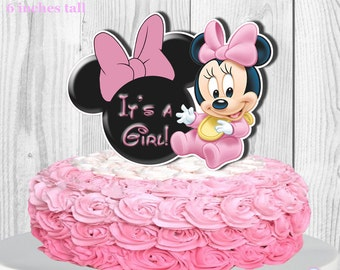 Baby Minnie Mouse Cake Topper and Cupcake Topper, Baby Shower Cake Topper and Cupcake Topper, Diaper Cake Topper PRINTABLE, You Print