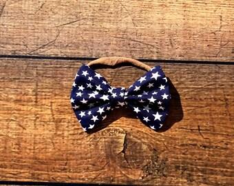4th of july bow, 4th of july bow headband, baby girl bows, patriotic bow headband, ribbon bow headband, nylon baby headband, one size fits