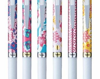 6 X Pentel EnerGel Roller Pen 0.5mm Limited Edition Blue ink special pattern