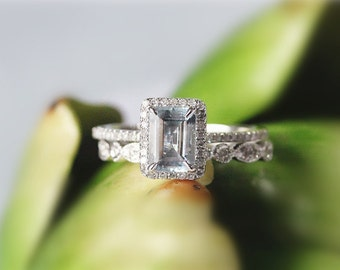 5x7mm Emerald  Cut Aquamarine 14K White Gold Aquamarine Engagement Ring Set Wedding Ring Anniversary Ring Set